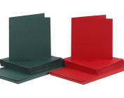 50 Red & Green 15cm Square Cards and Envelopes - Card Making Crafts