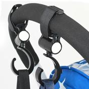 Fostly Pram Hook Strollers Hooks Baby Cart Hooks Buggy Bag Hook Universal Strollers Hooks for Most Strollers 360 Degree Rotation 2 Pcs Set Black