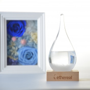 Weather Forecaster Fitzroy Storm Glass Barometer - NEW DESIGN Creative Stylish - Crystal Droplets - Shaped Barometer with Wooden Base Foot - Elegant Table Decoration Gift - Ethereal Miracle