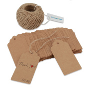 Shintop 100pcs Kraft Paper Gift Tags, Gift Labels Wedding Tags with Free 30m Natural Jute Twine