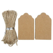 Bodhi2000 100pcs Vintage Kraft Paper Blank Tags with Jute Twine for DIY Gifts Crafts Price Luggage Name Tags