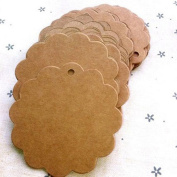 Bodhi2000 50pcs Round Flower Kraft Paper Tag for Wedding Favour Cards,Gift Tag,DIY Tag,Luggage Tag,Price Label,Store Hang Tag