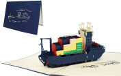 Lin & Pop Up Greeting Card 3D Greeting Cards Cargo Ship