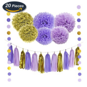 KUNGYO 20PCS DIY Decorations Kit For Baby Shower Decoration Wedding Nursery Decorations Bridal Shower - Purple Lilac Gold Tissue Paper Flowers Tissue Pom Pom Paper Tassel Polka Dot Paper Garland