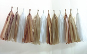 (Tassels Ship Assembled and Ready to Hang) 12 X Camel Tissue Paper Tassels for Party Wedding Gold Garland Bunting Pom Pom
