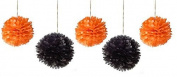 (16pcs) Halloween Mixed Size Orange and Black Tissue Paper Pom Poms Lanterns Decorations