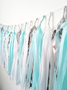 15 X Blue White Silver Tissue Paper Tassels for Party Wedding Gold Garland Bunting Pom Pom