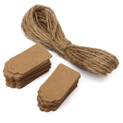 Gemini_mall® 100pcs Gift Tags/Kraft Hang Tags with Free Cut Jute Twine Strings for Gifts Crafts and Price Tags Scalloped Tag Rectangular