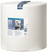 Tork 130060 Heavy-Duty Wiping Paper / 2 Ply Absorbent Paper Roll Suitable for Tork W1 Wipers Wall/Floor/Standard System / White / 1 x 340m / Ø 37.5cm