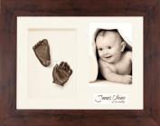 BabyRice Baby Casting Kit / 29cm x 22cm Mahogany Effect Wood Frame / Cream 3 Hole Mount / Cream Backing / Bronze Paint