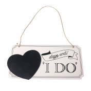 BecauseOf Wooden Wedding Countdown Hanging Chalkboard Sign for Home Decor