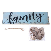 BetterM Wooden DIY Hanging Calendar, Family Printed For Home Decor