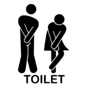 Creazrise Removable Cute Man Woman Washroom Toilet WC Sticker Family DIY Decor