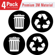 Recycle and trash logo stickers (4 Pack) 10cm x 10cm - Organise trash - For metal or plastic garbage cans, containers and bins - indoor & outdoor - Home, kitchen, office - Premium decal
