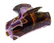 7cm Plastic Paisley Print Acrylic Hair Clamp Claw Dark Purple