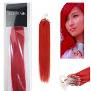 Style 41cm Easy Loops Micro Rings Beads Tipped 100% Real Human Hair Extensions Straight Hair Colour Red Beauty Design Salon