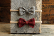 Burlap Bow Headband Set on stretchy Nylon bands. One-size fits most, photography prop