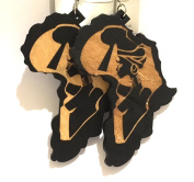 African American Black wooden earring Africa Map design