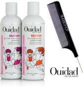 Ouidad KRLY KIDS No Time for Tears Shampoo & No More Knots Conditioner DUO Set (with Sleek Steel Pin Tail Comb)