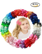 Fani 40 Pcs 7.6cm Grosgrain Ribbon Pinwheel Boutique Hair Bows Clips For Baby Girls Teens Toddlers Kids Children with 40 Colours