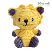 Mini Leo, hand crochet toy, soft plush toy, safe gift for new born babies and children, even infants, bedtime toy for kids, designed by Bobi Craft.