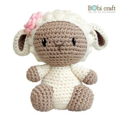 Mini Barbra, hand crochet toy, soft plush toy, safe gift for new born babies and children, even infants, bedtime toy for kids, designed by Bobi Craft.