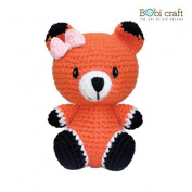 Mini Foxxie, hand crochet toy, soft plush toy, safe gift for new born babies and children, even infants, bedtime toy for kids, designed by Bobi Craft.