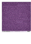 12 SHEETS OF 15cm X 15cm CREATIVE PAPER BY CRAFT CREATIONS - CHRISTMAS WORDS - PURPLE