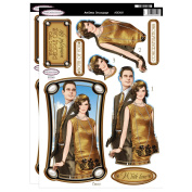 Debbi Moore Art Deco Flapper Lady & Gent Gold Die Cut Decoupage Toppers & Anniversary Sentiments