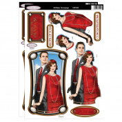 Debbi Moore Art Deco Flapper Lady & Gent Red Die Cut Toppers & Anniversary Sentiments
