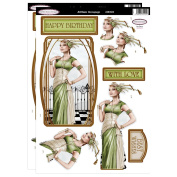 Debbi Moore Art Deco Lady Green & Cream Die Cut Toppers & Birthday Sentiments