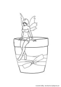 Fairy on Plant Pot Stamp by Janette Padley