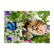 5D Diamond Painting by Number Kit, callm Hot Sale DIY Cross Stitch Kit Butterfly Nature Cat Animals Diamond Embroidery Painting Drill Arts Craft Supply for Home Wall Decor