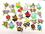 CraftbuddyUS 20 Iron On, Sew On Fabric Flower Motifs, Craft, Sewing, Embroidery Patches