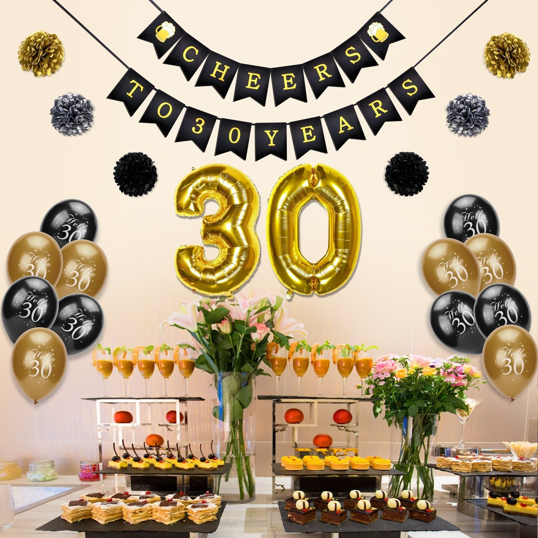 30th Birthday Decoration Konsait Cheers To 30 Banner