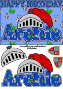 Birthday Knight A5 Name Card Archie by Kelly Barker