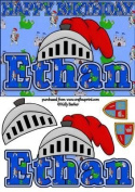 Birthday Knight A5 Name Card Ethan by Kelly Barker