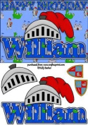 Birthday Knight A5 Name Card William by Kelly Barker