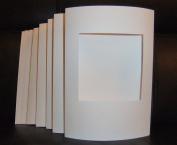 5 WHITE Linen Effect Square Aperture cards 20cm x 15cm with 5 White Envelopes