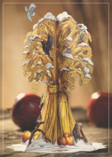 Luxury GOLDEN SHEAF CHRISTMAS 3D 2 in 1 card, christmas, UNIQUE UNUSUAL