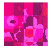 MINI-RUUTU-UNIKKO red floral squares Marimekko Luncheon Paper Table Napkins 20 in a pack 33cm square