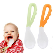 Pocktyle 2Pcs Silicone Infant Feeding Feeder Baby Tableware Utensils Set Curved Spoon