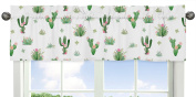 Pink and Green Boho Watercolour Window Treatment Valance for Cactus Floral Collection by Sweet Jojo Designs