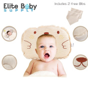 Elite Baby Head Shaping Anti Flat Pillow 100% Organic Cotton Hypoallergenic Breathable New born baby pillow Prevent Flat Head Supportive Anti Reflux Spine Alignment + 2 Baby Bibs