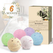 BMK Bath Bombs Gift Set 6PCS x 130ml Bath Fizzies & 6 Candles Dry Flower Natural Organic Essential Oil Handmade for bathtub, Valentine's gift, Ideas Gift Kit for Family and friends