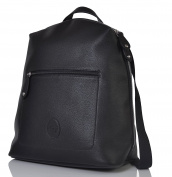 PacaPod Hartland Black Designer Baby Changing Bag - Luxury Faux Leather Backpack 3 in 1 Organising System With Convertible Straps