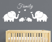 AIYANG Four Elephants Family Wall Decal Love Hearts Family Words Baby Twins Vinyl Wall Decal Sticker For Baby Nursery Room Decor
