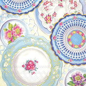 Boston International 20 Count 3-Ply Paper Lunch Napkins, Collection of Plates