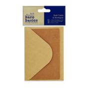 Papermania Bare Basics Craft - 10.5 x 7cm Kraft Cards & Envelopes - Brown