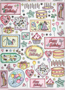 2 sheets birthday theme decoupage sheet, ideal for arts and crafts, card, invitations, framing, dolls houses and lots more etc